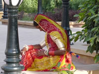 Young lady wearing traditional sari in Rajasthan