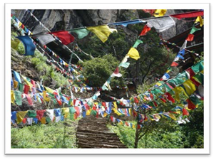 Prayer flags on way to Tigers Nest
